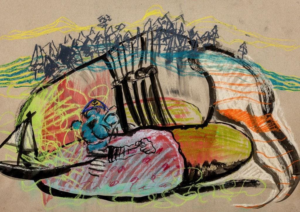 Lorley 2013 / Tusche und Kreide / 42 x 59 cm